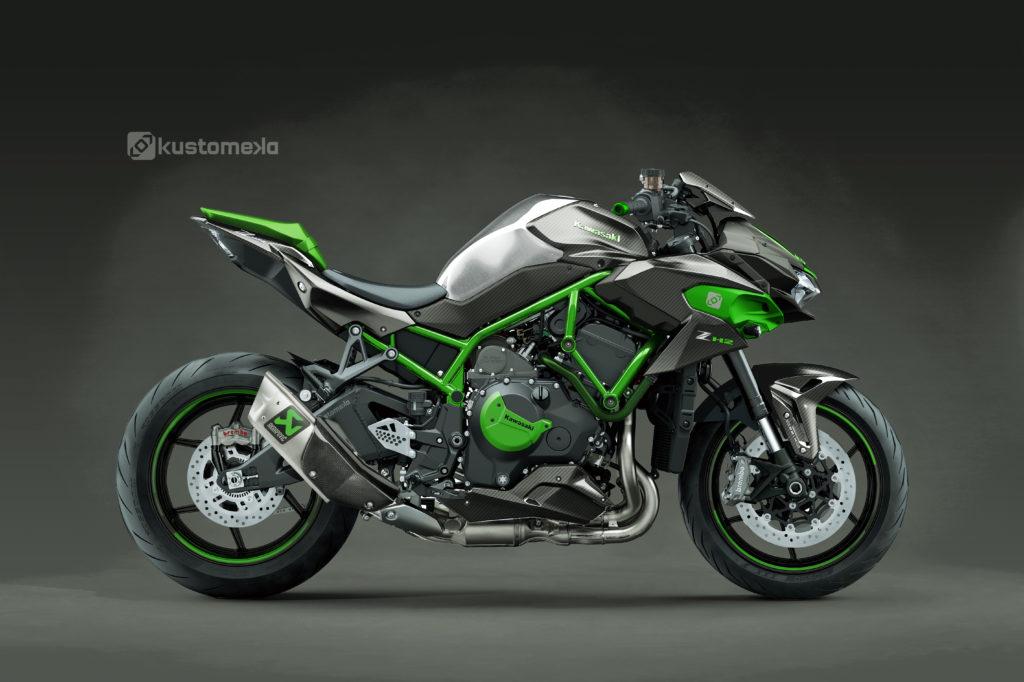 Kawasaki Z H2 - Carbone, Métal Brossé et silencieux Akrapovic